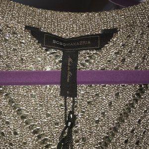 Asymmetric Metallic BCBG Maxazria Metallic Sweater